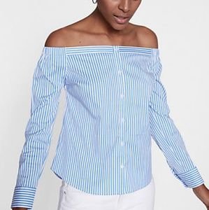 Express Striped Off The Shoulder Button Front Blou